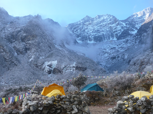 Base Camp 1500m below the base of Kwangde
