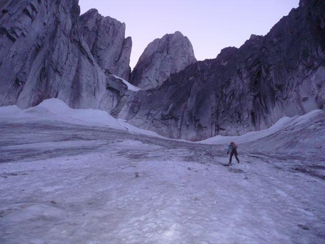 the ice to approach the start of the route
