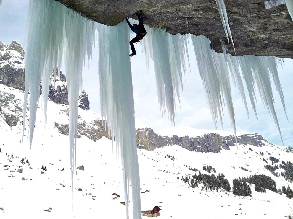 "Transitioning to the ice. ""Real Mixed Climbing"" yay"
