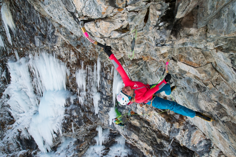 Me working the crux moves of M11 pitch