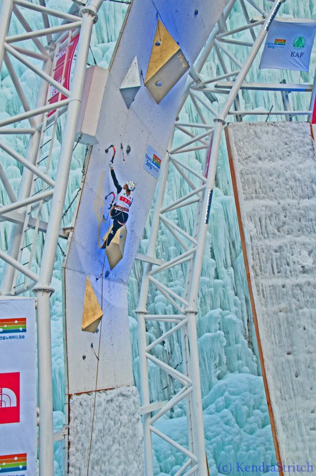Jen competing at World Cup Ice Climbing in South Korea 2013